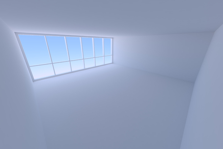 wide angle: Business architecture office room interior - empty blue business office room with floor, ceiling, walls and large window with morning blue sky light, 3d illustration, wide angle from ceiling Stock Photo