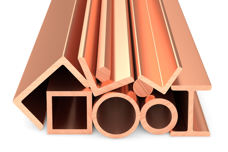 ferrous: Metallurgical industry non-ferrous industrial products - stainless rolled copper metal products (pipes, profiles, girders, bars, balks and armature) on white, industrial 3D illustration