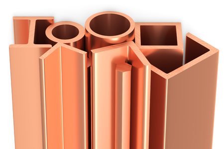 Metallurgical industry non-ferrous industrial products - group of stainless rolled copper metal products (girders, pipes, profiles, bars, balks and armature) on white, industrial 3D illustration Banco de Imagens