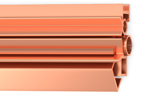 balk: Metallurgical industry non-ferrous industrial products - stainless rolled copper products (pipes, profiles, girders, bars, balks and armature) on white, industrial 3D illustration