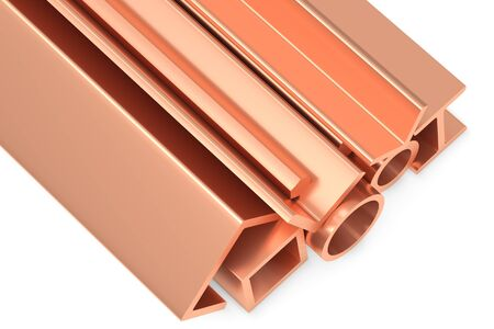 balk: Metallurgical industry non-ferrous industrial products - group of stainless rolled copper metal products (pipes, profiles, girders, bars, balks and armature) on white industrial 3D illustration