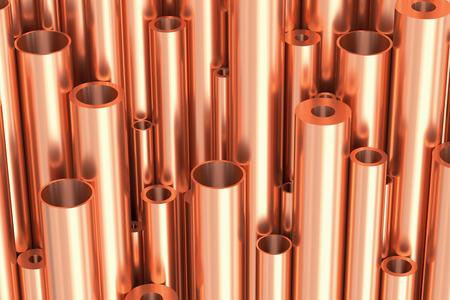 Metallurgical industry production and non-ferrous industrial products abstract illustration - many different various sized stainless metal shiny copper pipes, industrial background 3D illustration Stock Photo