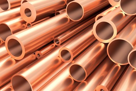 raw materials: Metallurgical industry production and non-ferrous industrial products abstract illustration - many different various sized stainless metal shiny copper pipes, industrial background, 3D illustration. Stock Photo