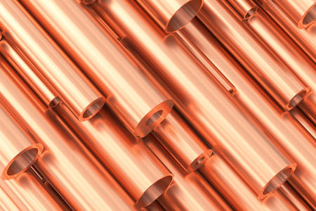 ferrous: Metallurgical industry production and non-ferrous industrial products abstract illustration - many different various sized stainless metal shiny copper pipes, 3D illustration.