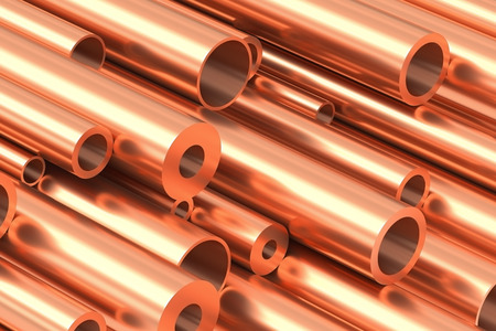 Metallurgical industry production and non-ferrous industrial products abstract illustration - many different various sized stainless metal shiny copper pipes closeup, industrial 3D illustration