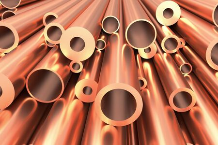 Metallurgical industry production and non-ferrous industrial products abstract illustration - many different various sized stainless metal shiny copper pipes abstract background, 3D illustration Stock Photo