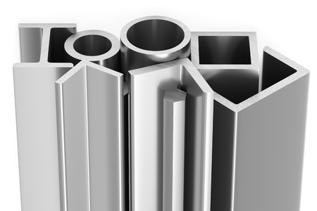 Metallurgical industry products - group of rolled steel metal products (girders, pipes, profiles, bars, balks and armature) on white, industrial 3D illustration Banco de Imagens