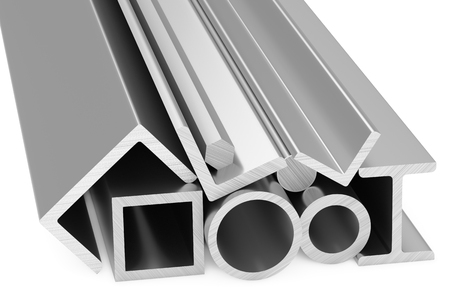 balk: Metallurgical industry products - group of rolled steel metal products (pipes, girders, bars, profiles, balks and armature) on white industrial 3D illustration