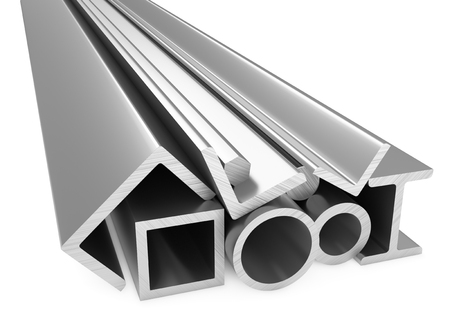 rolled: Metallurgical industry products - rolled metal steel products (pipes, profiles, girders, bars, balks and armature) on white, industrial 3D illustration Stock Photo