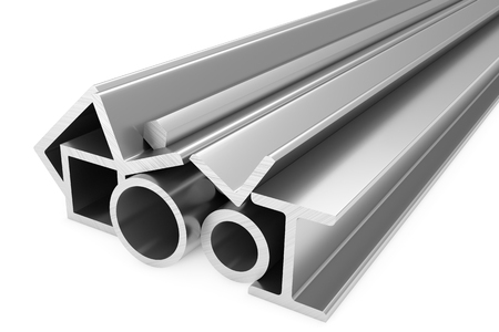 balk: Metallurgical industry products - group of stainless rolled steel products (pipes, profiles, girders, bars, balks and armature) on white, industrial 3D illustration