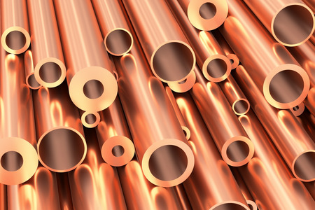 Metallurgical industry production and non-ferrous industrial products abstract illustration - many different various sized stainless metal shiny copper pipes closeup, industrial background, 3D illustration Stock Photo