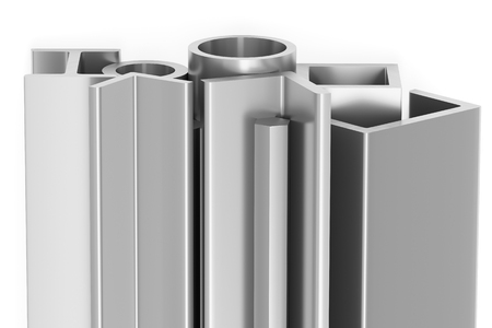 Metallurgical industry products - group of rolled steel metal products (profiles, pipes, girders, bars, balks and armature) on white industrial 3D illustration