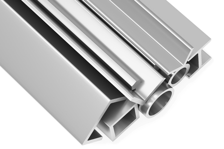 balk: Metallurgical industry industrial products - group of rolled steel metal products (pipes, profiles, girders, bars, balks and armature) on white industrial 3D illustration