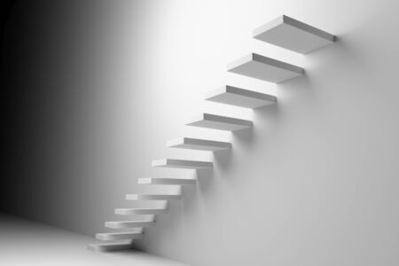 achievement concept: Ascending stairs of rising staircase going upward in dark white empty room, abstract white 3d illustration. Business growth, progress way and forward achievement creative concept