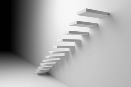 upstairs: White ascending stairs of rising staircase going upward in dark empty room, abstract white 3d illustration. Business growth, progress way and forward achievement creative concept.
