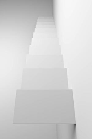 White ascending stairs of rising staircase going upward, top view, abstract white 3d illustration. Business growth, progress way and forward achievement creative concept. Фото со стока