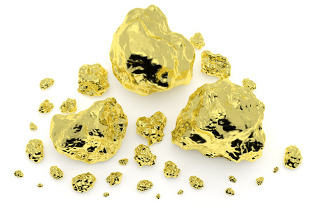 Big and small golden nuggets closeup isolated on white background. Gold ore in its origin as pieces of gold. 3D illustration