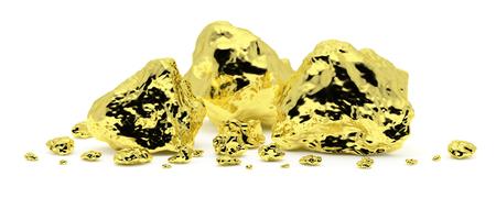 Viele goldene Nuggets Nahaufnahme getrennt auf weißem Hintergrund. Golderz in seiner Herkunft als Goldstücke. 3D-Darstellung
