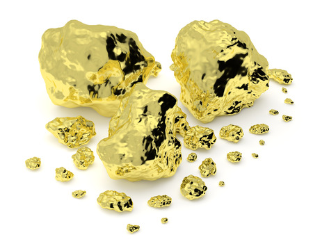 Big and small golden nuggets closeup isolated on white. Gold ore in its origin as pieces of gold. 3D illustration