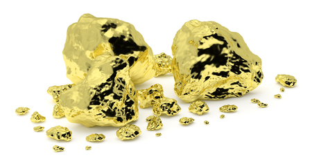 Small and big golden nuggets closeup isolated on white background. Gold ore in its origin as pieces of gold. 3D illustration