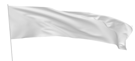 gathers: White long flag on flagpole flying and waving in the wind isolated on white, 3d illustration