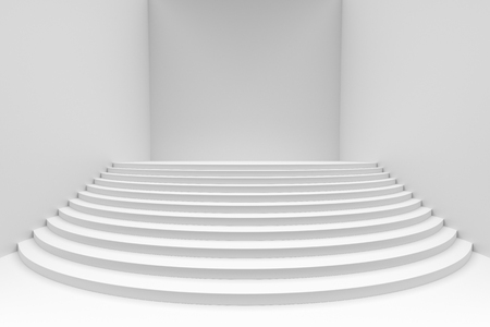 Stage with white round stairs in empty white room, wide angle view, abstract architectural 3d illustration Imagens
