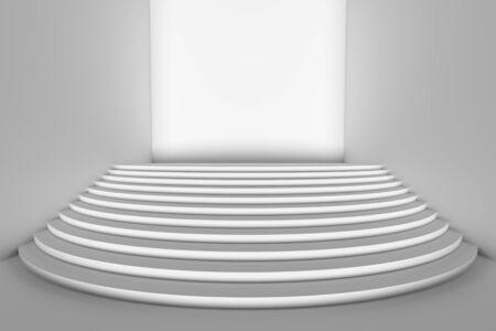 직접 앞 빛, 넓은 각도보기 빈 흰색 방에 흰색 라운드 계단 무대