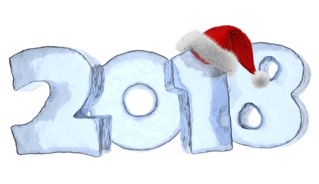 2018 new year sign text written with numbers made of blue ice with Santa Claus fluffy red hat, Happy New Year 2018 winter icy symbol 3d illustration isolated on white