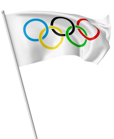 25 OKTOBER, 2017: 3D illustratie van kleine Olympische vlag op vlaggestok die en in de wind vliegen die op wit wordt geïsoleerd.