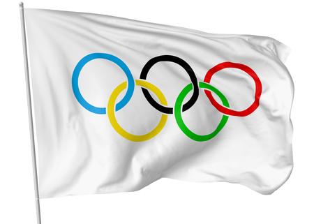 25 OKTOBER, 2017: 3D illustratie van Olympische vlag op vlaggestok die en in de wind vliegen die op wit wordt geïsoleerd.