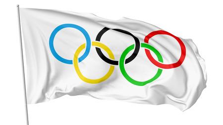 25 OKTOBER, 2017: 3D illustratie van grote Olympische vlag op vlaggestok die en in de wind vliegen die op wit wordt geïsoleerd.