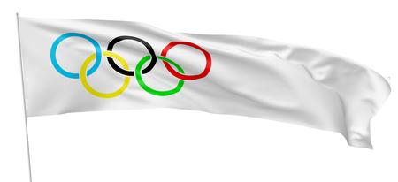 27 OKTOBER, 2017: 3D illustratie van Olympische lange vlag op vlaggestok die en in de wind golven vliegen die op witte achtergrond wordt geïsoleerd Redactioneel