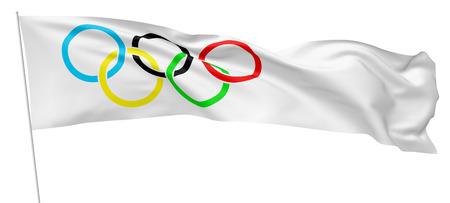 27 OKTOBER, 2017: 3D illustratie van Olympische vlag op vlaggestok die en in de wind golven golven die op wit wordt geïsoleerd