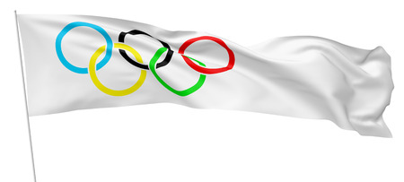 OCTOBER 27, 2017: 3D illustration of Olympic flag on flagpole waving and flying in the wind isolated on white 新聞圖片