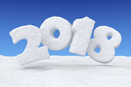 2018 New Year sign text written with numbers made of snow over snow surface under clear blue sky, Happy New Year 2018 winter snow symbol 3d illustration