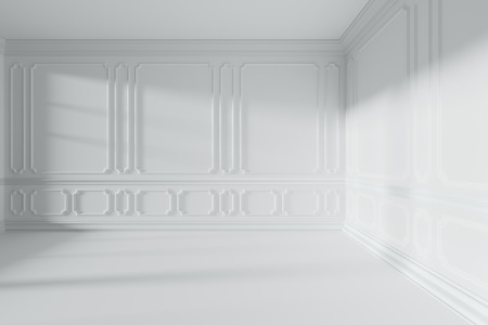 Simple empty white room interior with sunlight from window, with white decorative classic style molding frames on walls, with flat ceiling, floor and baseboard, 3d illustration Stock Photo