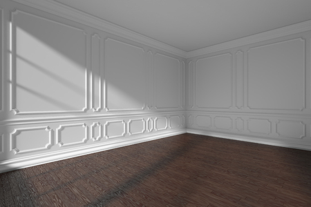 White empty room corner interior with sunlight from window, decorative classic style molding frames on walls, dark wooden parquet floor and white baseboard, 3d illustration Stock Photo