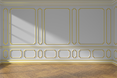 White empty room wall interior with sunlight from window, golden decorative classic style molding on walls, wooden parquet floor and white baseboard, 3d illustration Reklamní fotografie