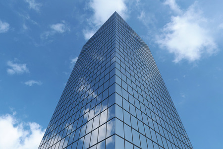 Bottom view of modern business skyscraper in business district in day sunlight under blue sky with clouds raising to sky, business offices corporate building with blue windows, 3D illustration
