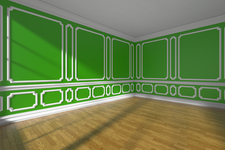 Green empty room interior with sunlight from window, white decorative classic style molding on walls, wooden parquet floor and white baseboard, 3d illustration, wide angle Stock Photo