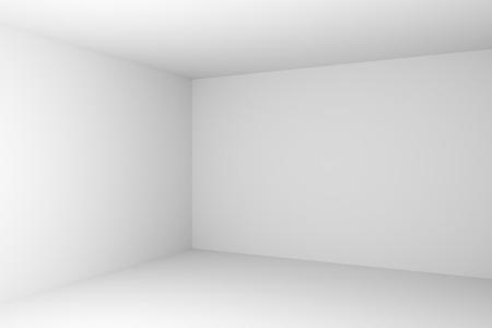 Corner of abstract white empty room closeup with white wall, floor, ceiling without any textures, colorless 3d illustration