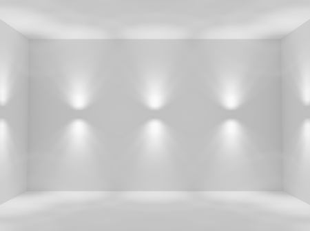 Empty white abstract room with wall lamp spotlights with walls, floor and ceiling without any textures, colorless 3d illustration