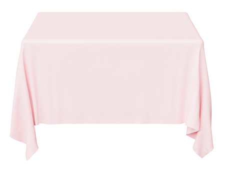 Pink square tablecloth isolated on white, 3d illustration