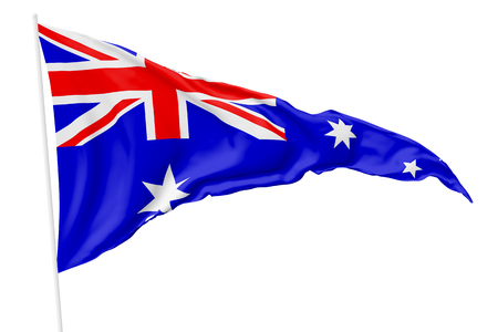 Triangular national flag of Australia on flagpole flying in the wind isolated on white, 3d illustration