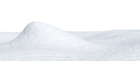 White snow hill and smooth snow surface isolated on white background, 3d illustration