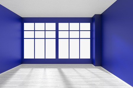 Empty room with blue walls, big window, whitre hardwood parquet floor and sunlight from window, perspective front view, minimalist interior 3d illustration Stock Photo