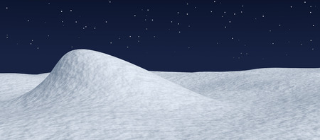 White snow hill and smooth snow surface under dark blue night sky with stars, winter snow background 3d illustration
