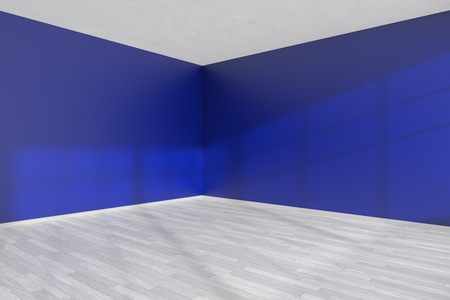 Corner of empty room with blue flat smooth walls, white wooden parquet floor and baseboard under sun light through window, minimalist interior 3D illustration