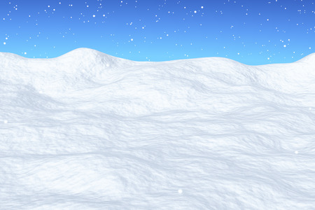 White snow field with hills unred snowfall and bright winter blue sky, winter snow background, 3d illustration Stok Fotoğraf