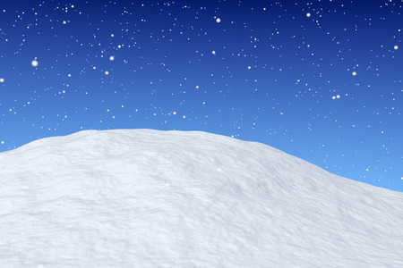 White snow hill unred snowfall and bright winter blue sky closeup view, winter snow background, 3d illustration Stock Photo
